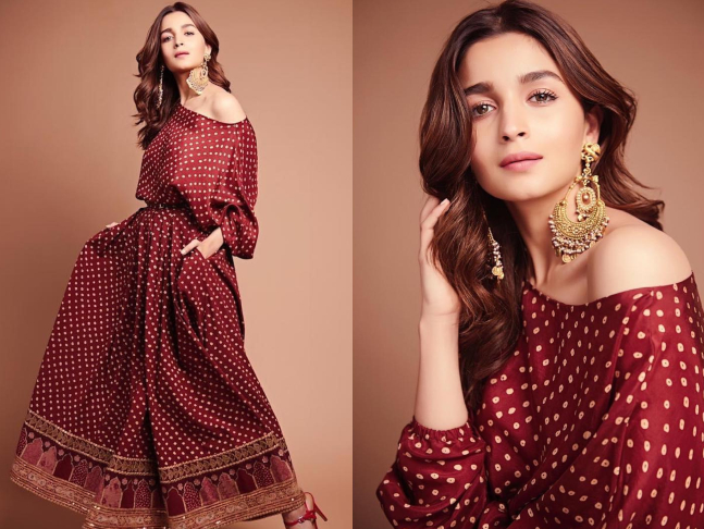 368596b2cbf Alia Bhatt rocked this scarlet hot number by Sabyasachi. This bandhni  off-shoulder dress from the label s latest collection Kashgaar Bazaar  collection was ...