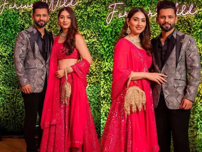 Shimmery lehengas, suave suits and all thing vogue! Lovebirds Disha Parmar and Rahul Vaidya shell out couple fashion goals as they attend a wedding