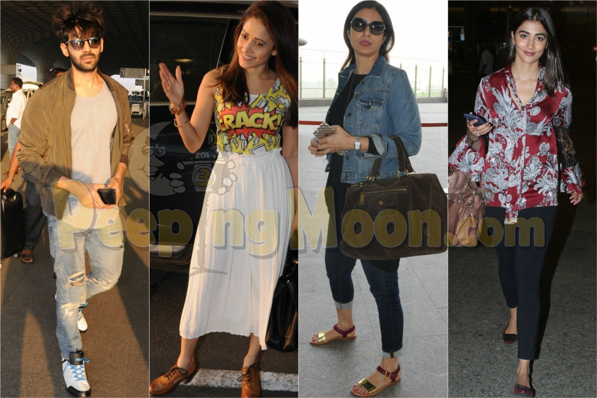 Kartik, Nushrat, Tabu and Pooja's on-point airport fashion ...