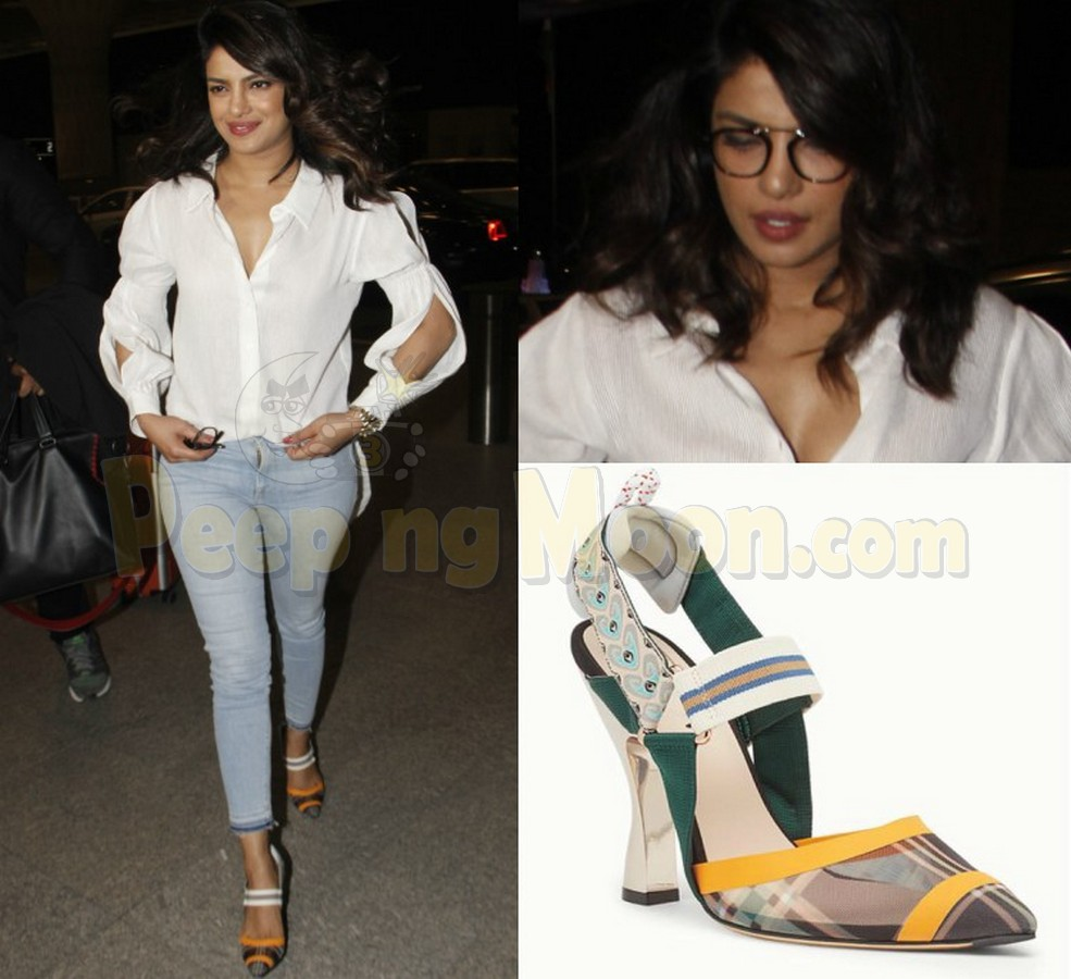 950fb45f708 Priyanka teamed her stylish cold-shoulder shirt with well-fitted denim. But  it was her Fendi shoes that stole the limelight from this comfy style.